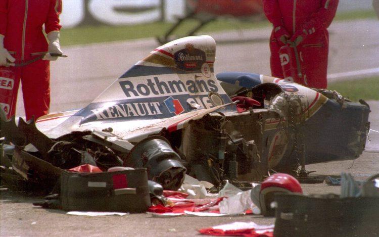 Así quedó el monoplaza de Ayrton Senna tras el accidente que le costó la vida en 1994.