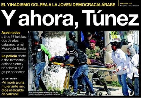 Fuente: Portada de El Periódico de Catalunya del 19/03/2015.